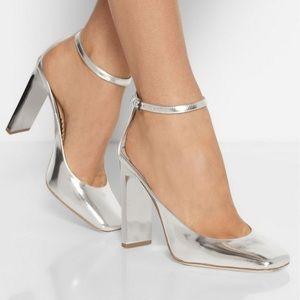 Reed Krakoff Atlas Silver Mirrored Leather Size 37
